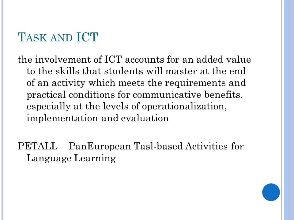 Task and ICT