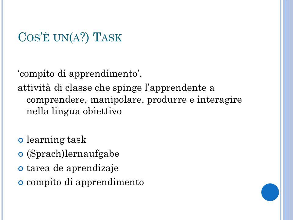 Cos'è un(a ) Task 'compito di apprendimento',