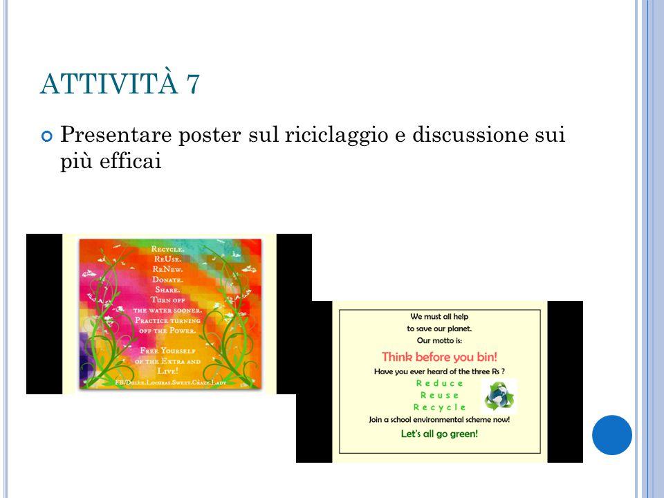 ATTIVITÀ 7 Presentare poster sul riciclaggio e discussione sui più efficai