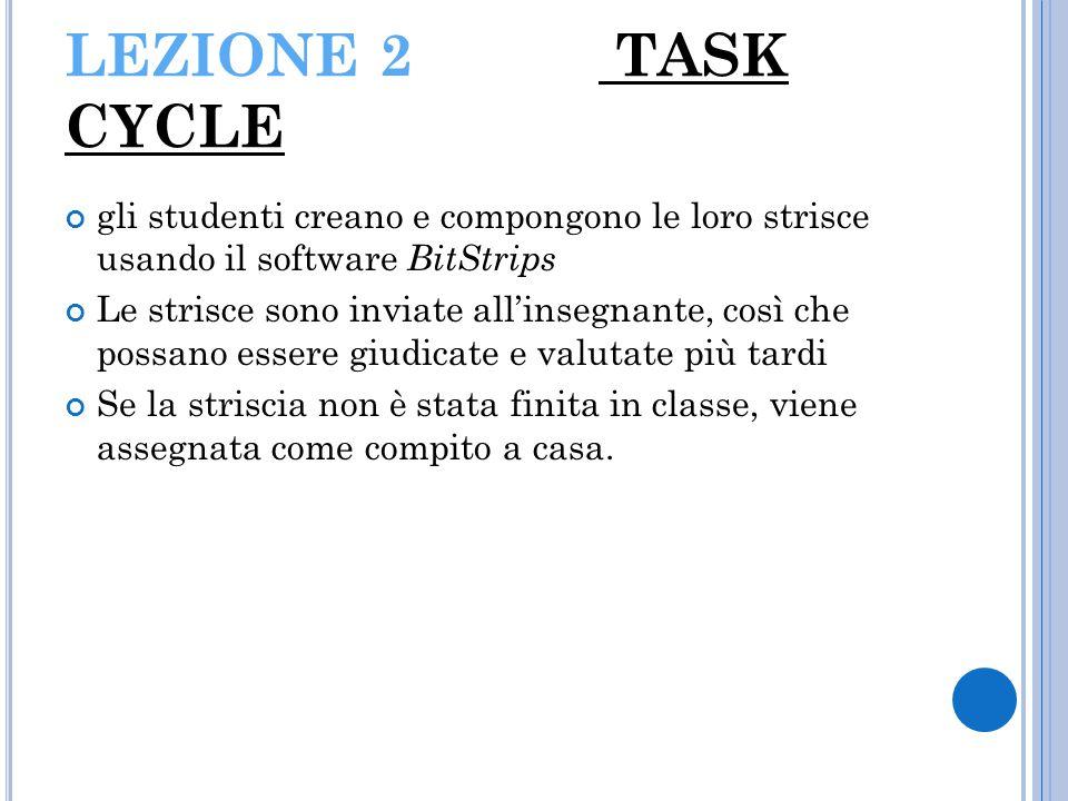 LEZIONE 2 TASK CYCLE gli studenti creano e compongono le loro strisce usando il software BitStrips.