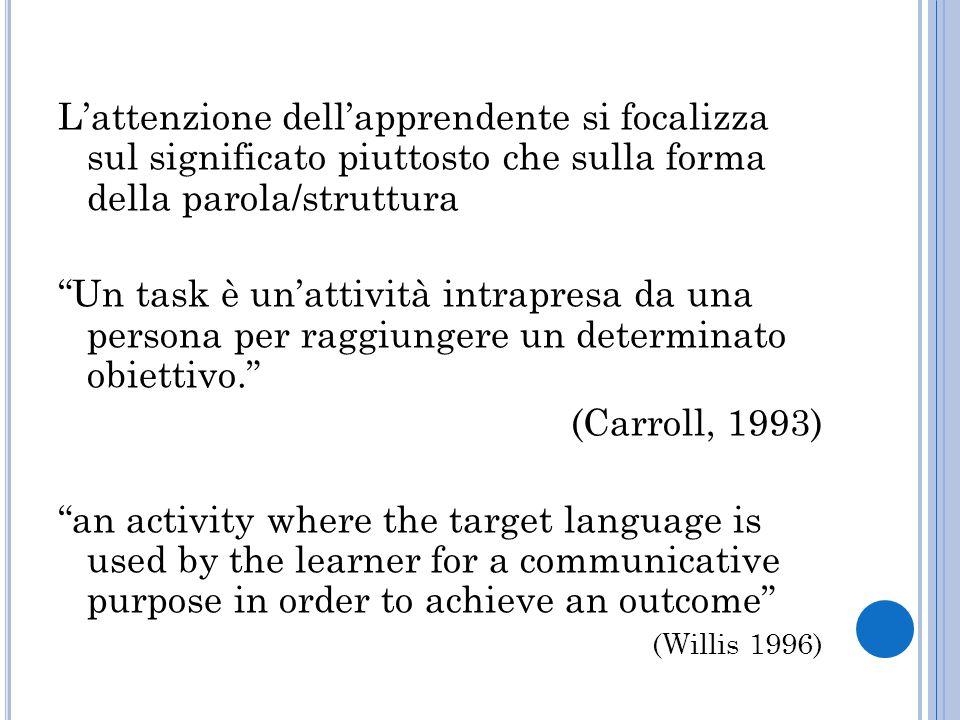 L'attenzione dell'apprendente si focalizza sul significato piuttosto che sulla forma della parola/struttura