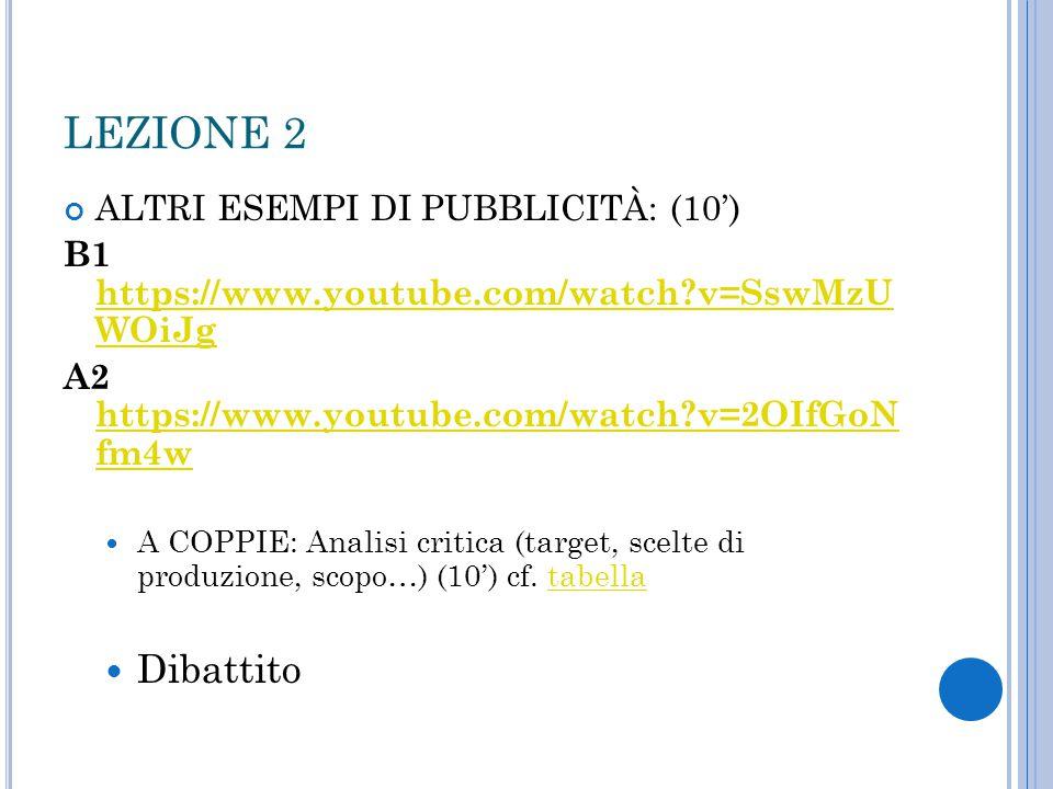 LEZIONE 2 Dibattito ALTRI ESEMPI DI PUBBLICITÀ: (10')