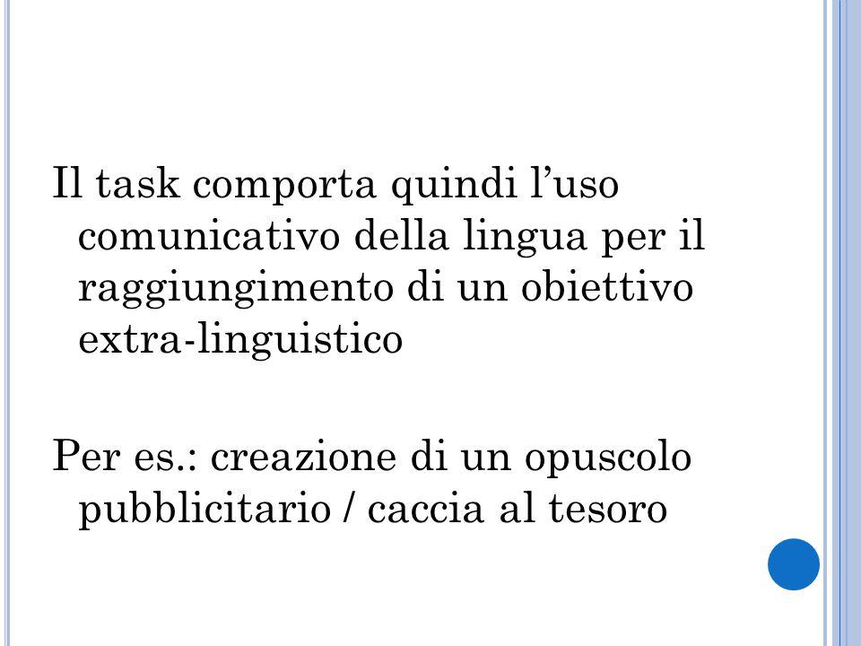 Il task comporta quindi l'uso comunicativo della lingua per il raggiungimento di un obiettivo extra-linguistico Per es.: creazione di un opuscolo pubblicitario / caccia al tesoro