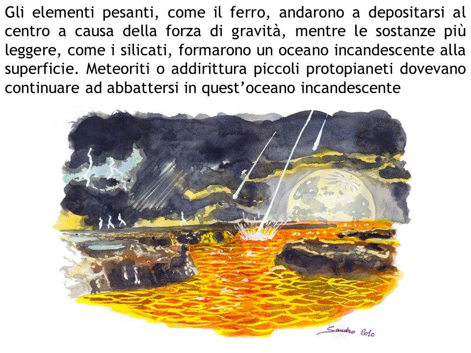 Gli elementi pesanti, come il ferro, andarono a depositarsi al centro a causa della forza di gravità, mentre le sostanze più leggere, come i silicati, formarono un oceano incandescente alla superficie.