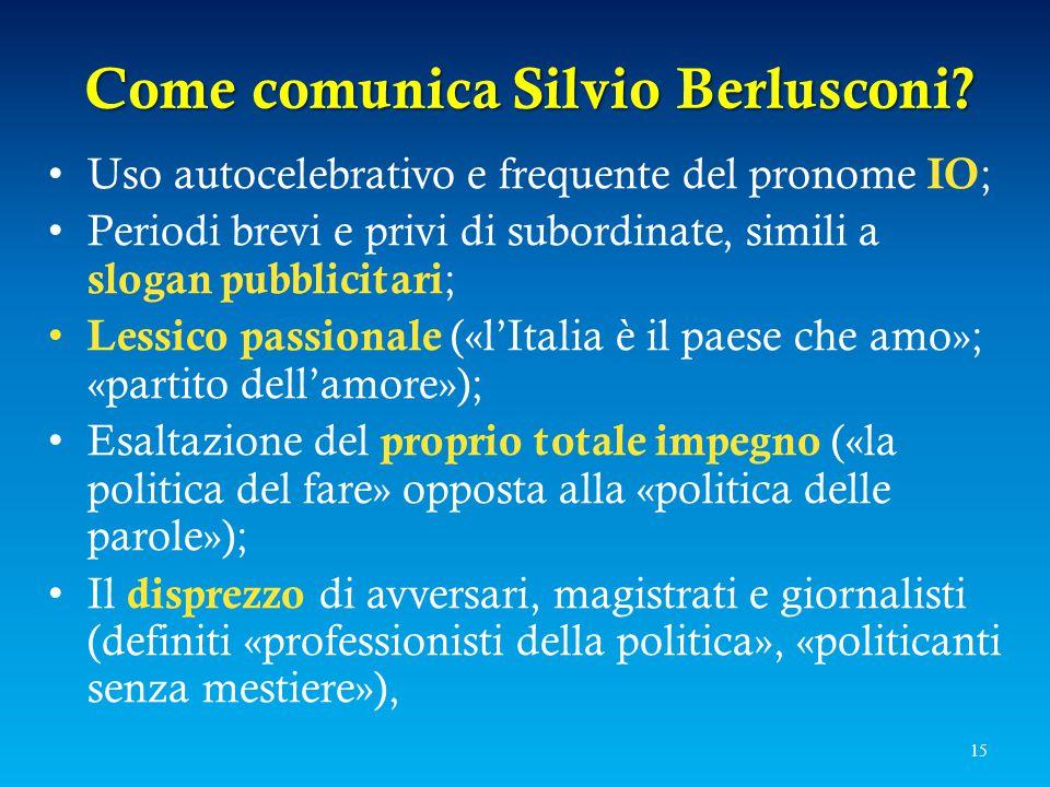 Come comunica Silvio Berlusconi