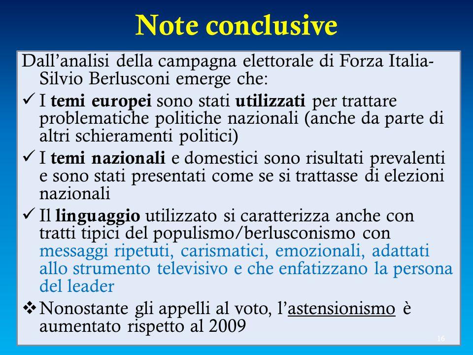 Note conclusive Dall'analisi della campagna elettorale di Forza Italia-Silvio Berlusconi emerge che: