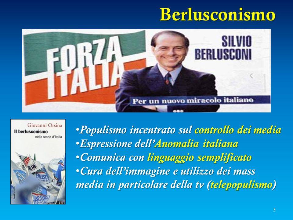 Berlusconismo Populismo incentrato sul controllo dei media