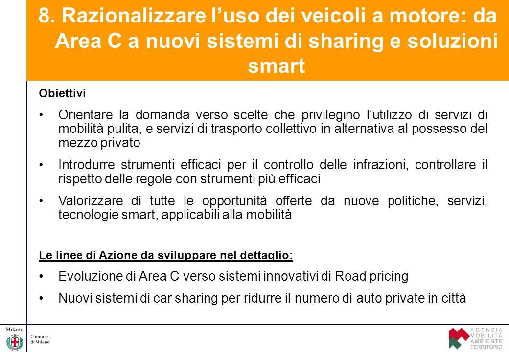 8. Razionalizzare l'uso dei veicoli a motore: da Area C a nuovi sistemi di sharing e soluzioni smart