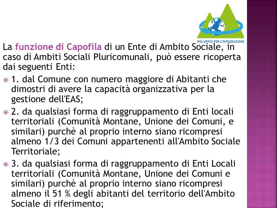 La funzione di Capofila di un Ente di Ambito Sociale, in caso di Ambiti Sociali Pluricomunali, può essere ricoperta dai seguenti Enti: