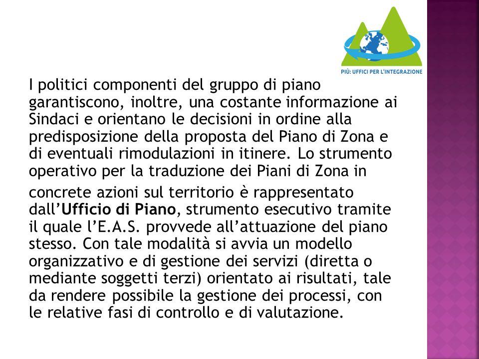 I politici componenti del gruppo di piano garantiscono, inoltre, una costante informazione ai Sindaci e orientano le decisioni in ordine alla predisposizione della proposta del Piano di Zona e di eventuali rimodulazioni in itinere.