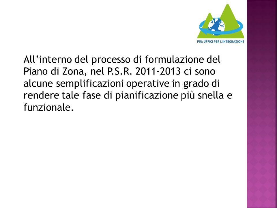 All'interno del processo di formulazione del Piano di Zona, nel P.S.R.