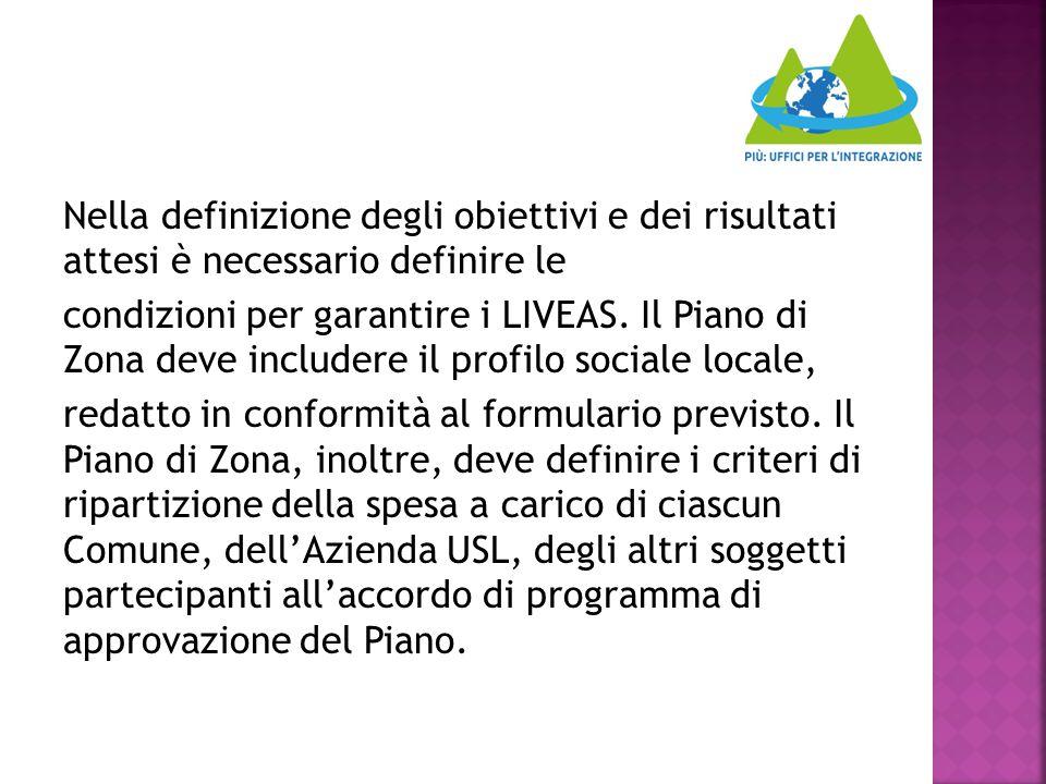Nella definizione degli obiettivi e dei risultati attesi è necessario definire le condizioni per garantire i LIVEAS.