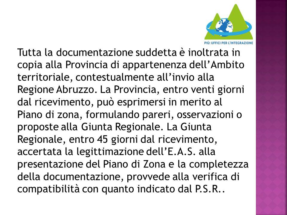 Tutta la documentazione suddetta è inoltrata in copia alla Provincia di appartenenza dell'Ambito territoriale, contestualmente all'invio alla Regione Abruzzo.