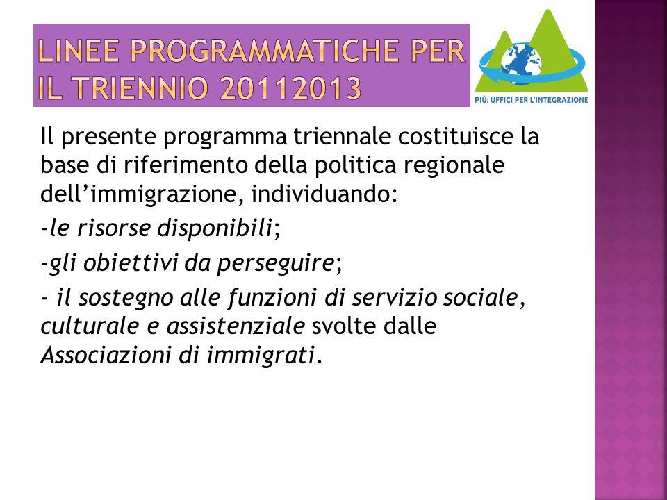 LINEE PROGRAMMATICHE PER IL TRIENNIO 20112013