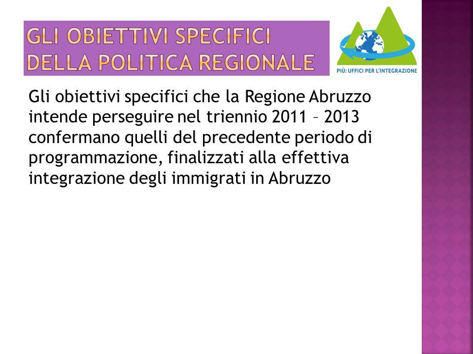 Gli obiettivi specifici della politica regionale