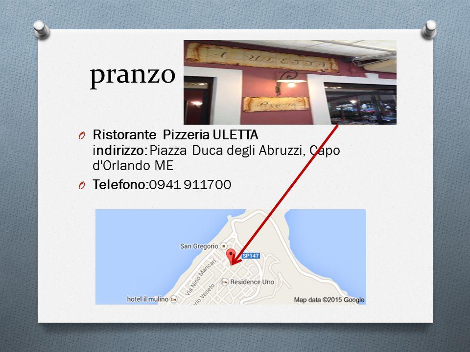 pranzo Ristorante Pizzeria ULETTA indirizzo: Piazza Duca degli Abruzzi, Capo d Orlando ME.