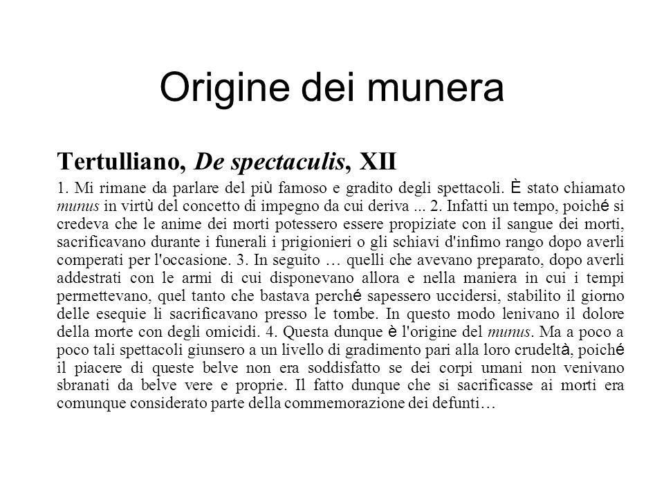 Origine dei munera Tertulliano, De spectaculis, XII