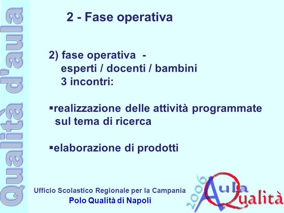2 - Fase operativa 2) fase operativa - esperti / docenti / bambini