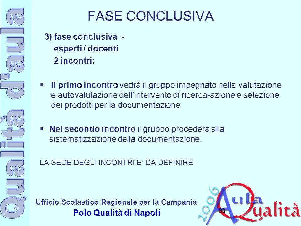 FASE CONCLUSIVA 3) fase conclusiva - esperti / docenti 2 incontri: