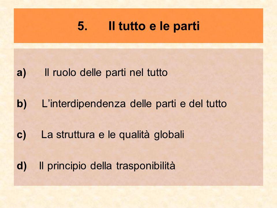 5. Il tutto e le parti a) Il ruolo delle parti nel tutto