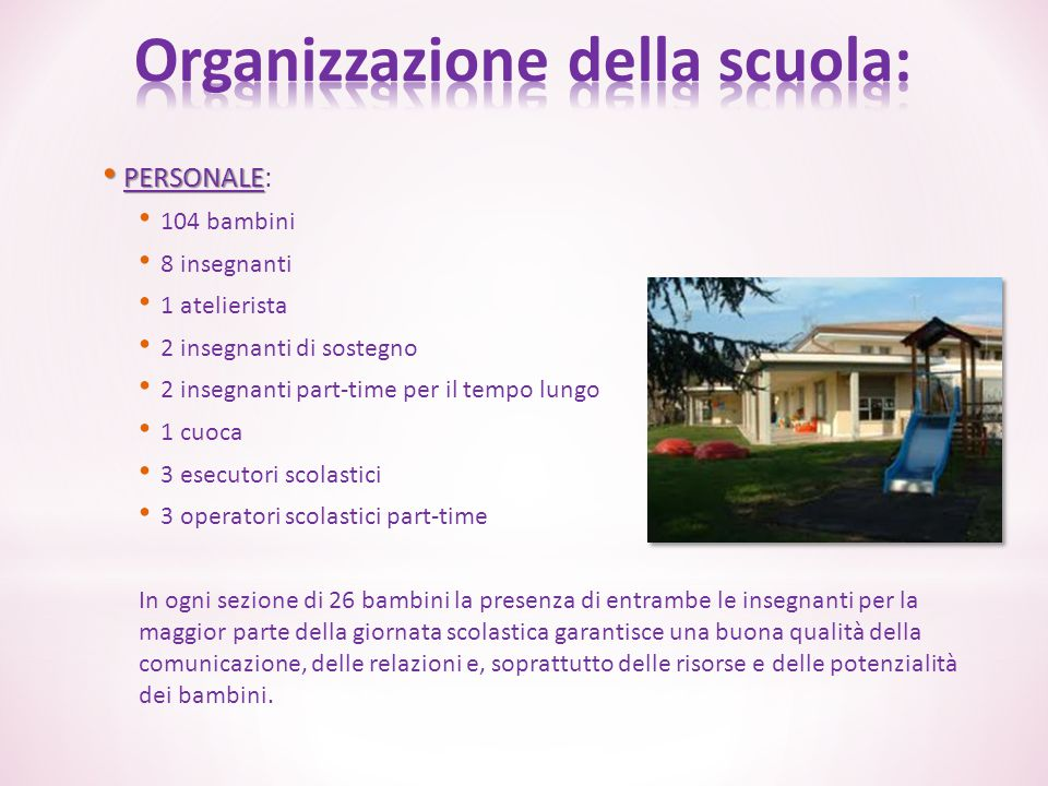 Organizzazione della scuola: