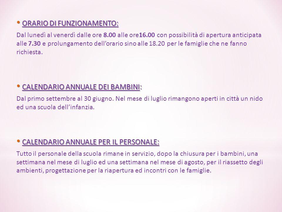 ORARIO DI FUNZIONAMENTO: