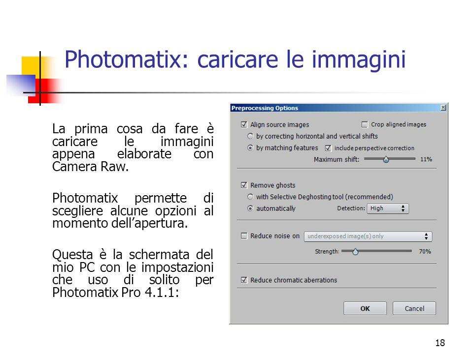 Photomatix: caricare le immagini
