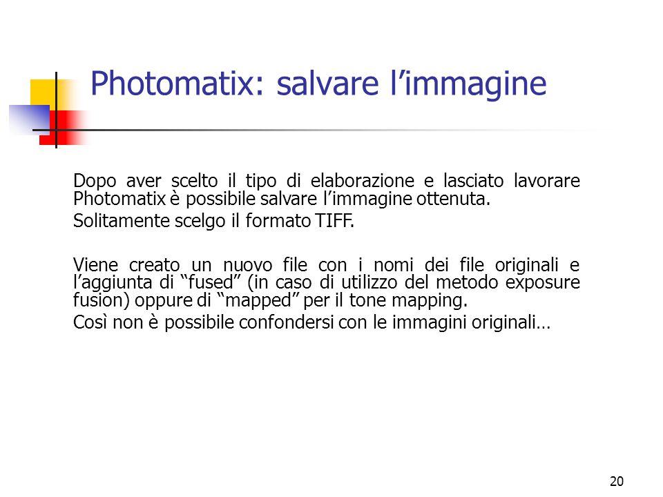 Photomatix: salvare l'immagine