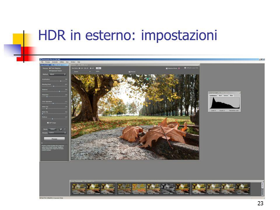 HDR in esterno: impostazioni
