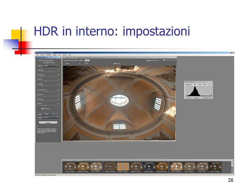 HDR in interno: impostazioni