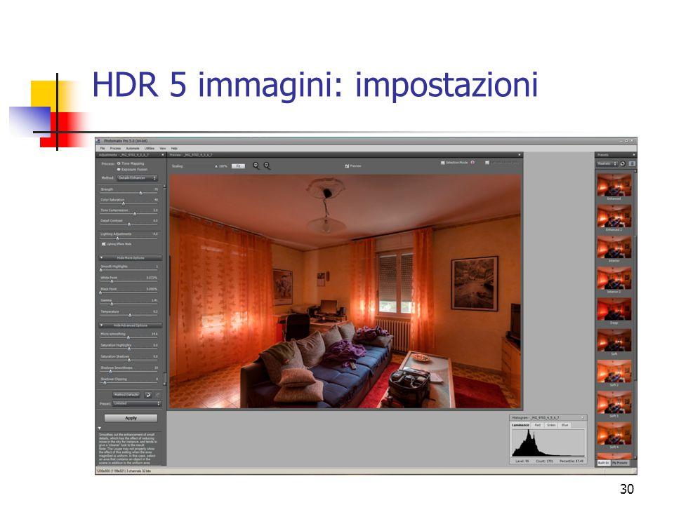HDR 5 immagini: impostazioni