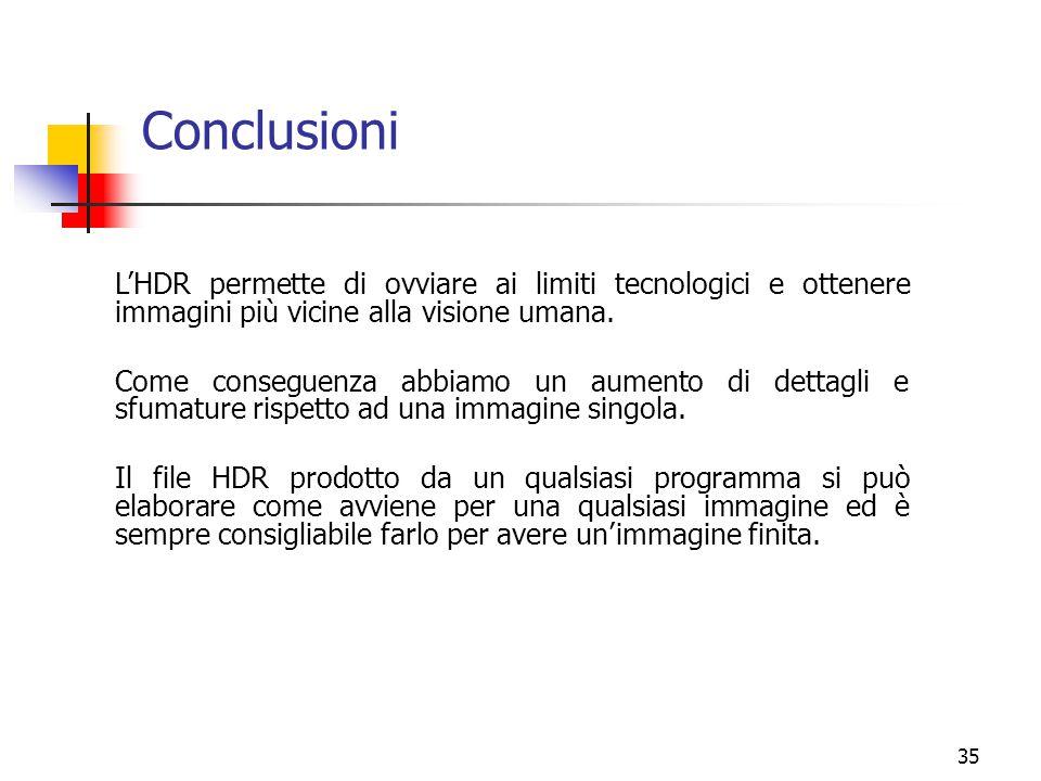 Conclusioni L'HDR permette di ovviare ai limiti tecnologici e ottenere immagini più vicine alla visione umana.