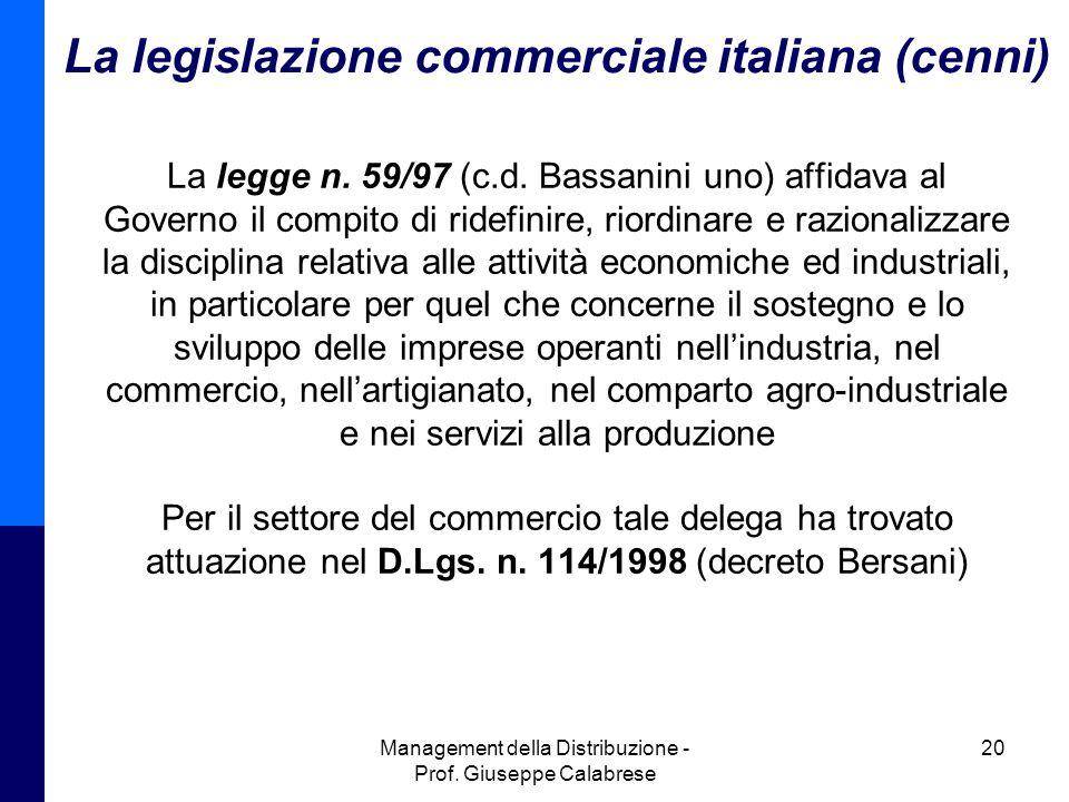 La legislazione commerciale italiana (cenni)
