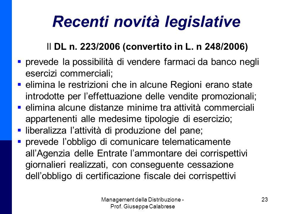 Recenti novità legislative