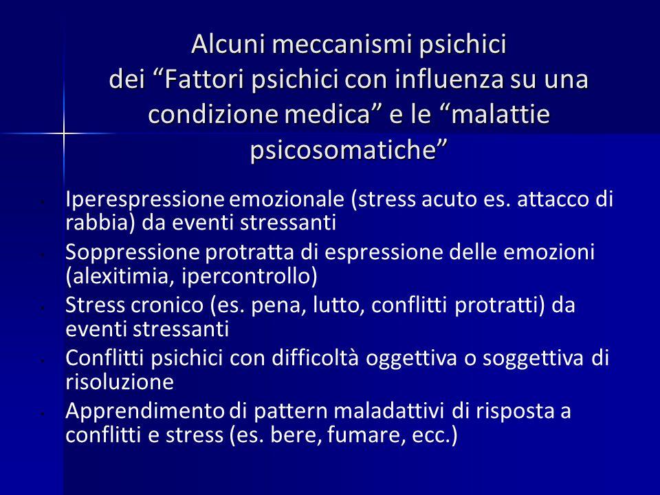 Alcuni meccanismi psichici dei Fattori psichici con influenza su una condizione medica e le malattie psicosomatiche