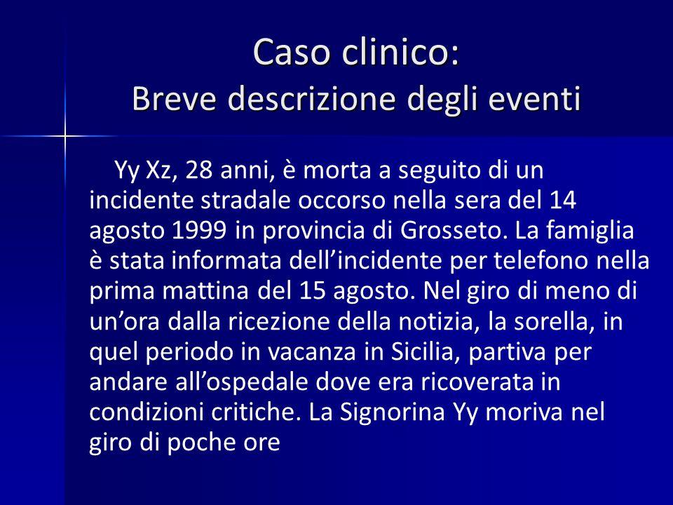 Caso clinico: Breve descrizione degli eventi