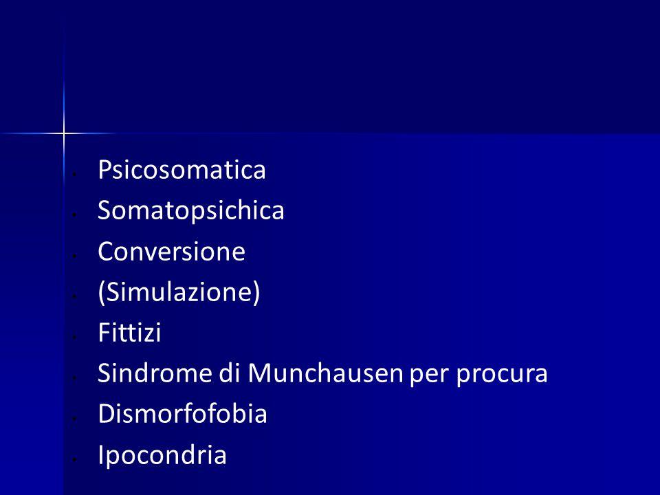 Psicosomatica Somatopsichica. Conversione. (Simulazione) Fittizi. Sindrome di Munchausen per procura.