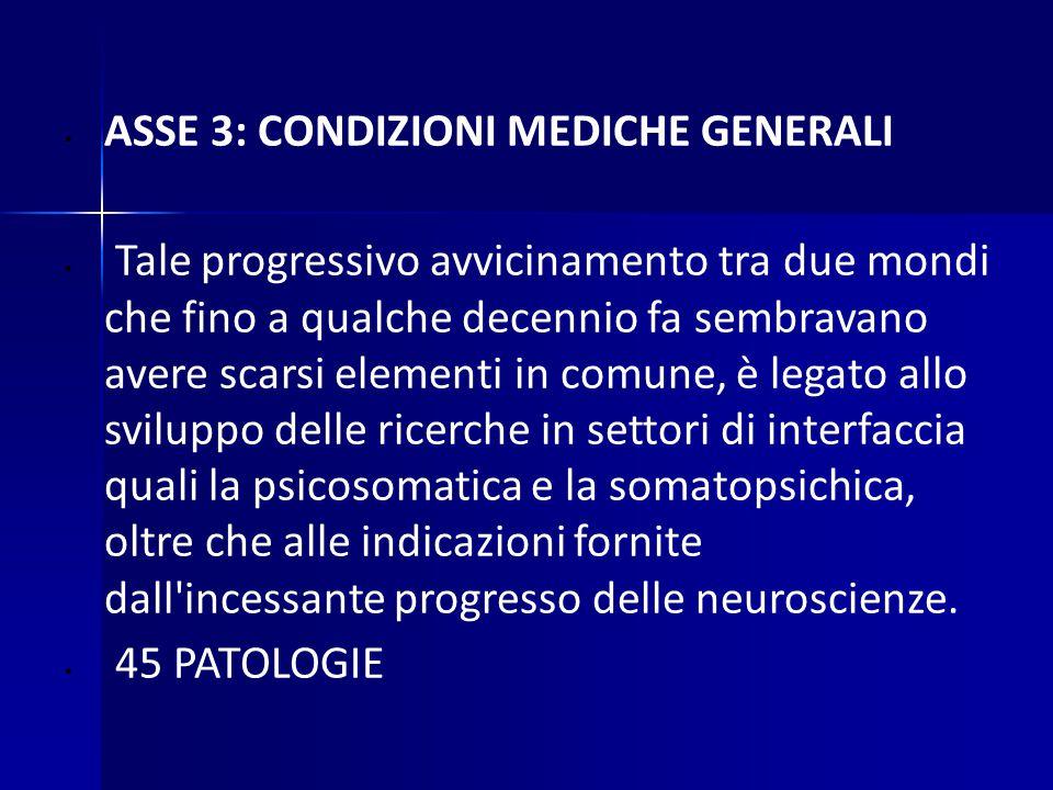 ASSE 3: CONDIZIONI MEDICHE GENERALI