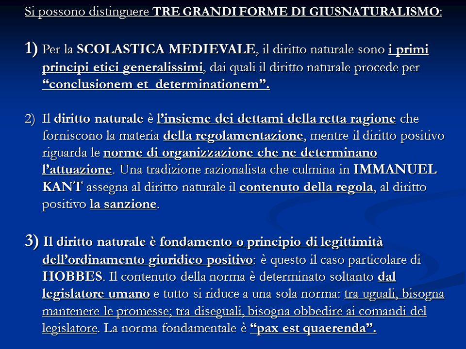Si possono distinguere TRE GRANDI FORME DI GIUSNATURALISMO: