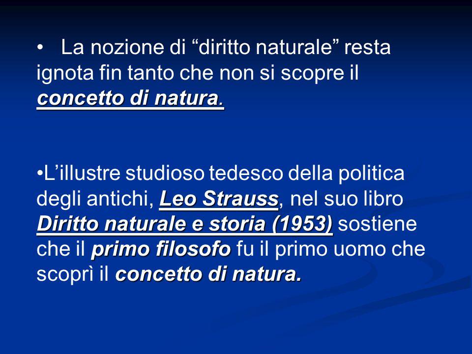 La nozione di diritto naturale resta ignota fin tanto che non si scopre il concetto di natura.