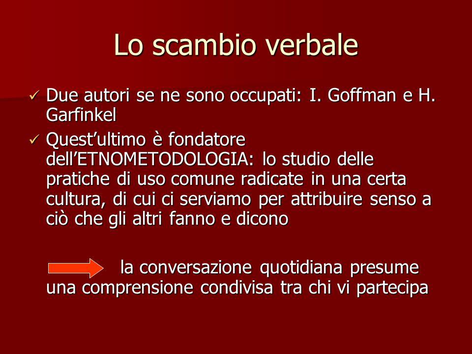 Lo scambio verbale Due autori se ne sono occupati: I. Goffman e H. Garfinkel.