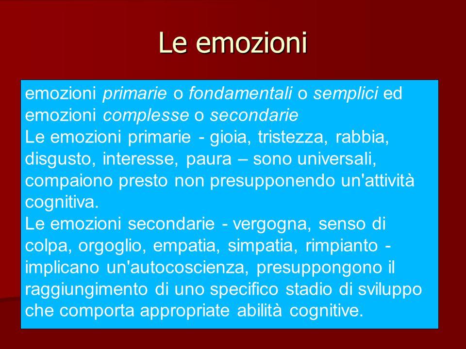 Le emozioni emozioni primarie o fondamentali o semplici ed emozioni complesse o secondarie.