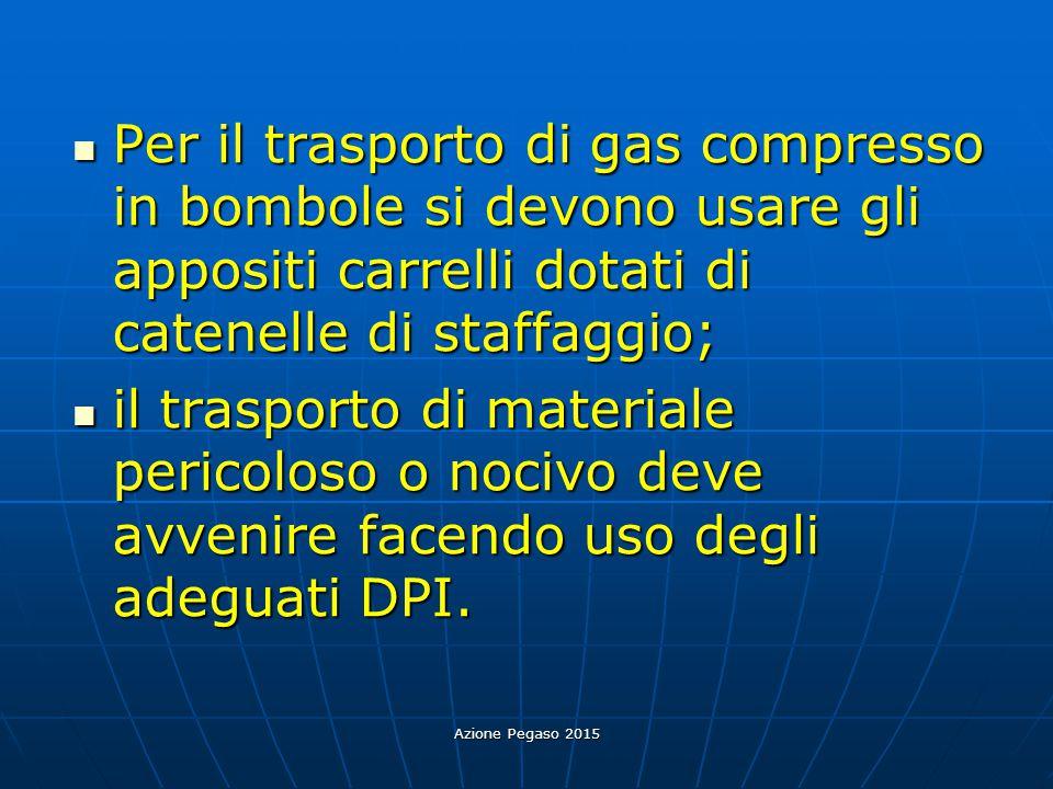 Per il trasporto di gas compresso in bombole si devono usare gli appositi carrelli dotati di catenelle di staffaggio;