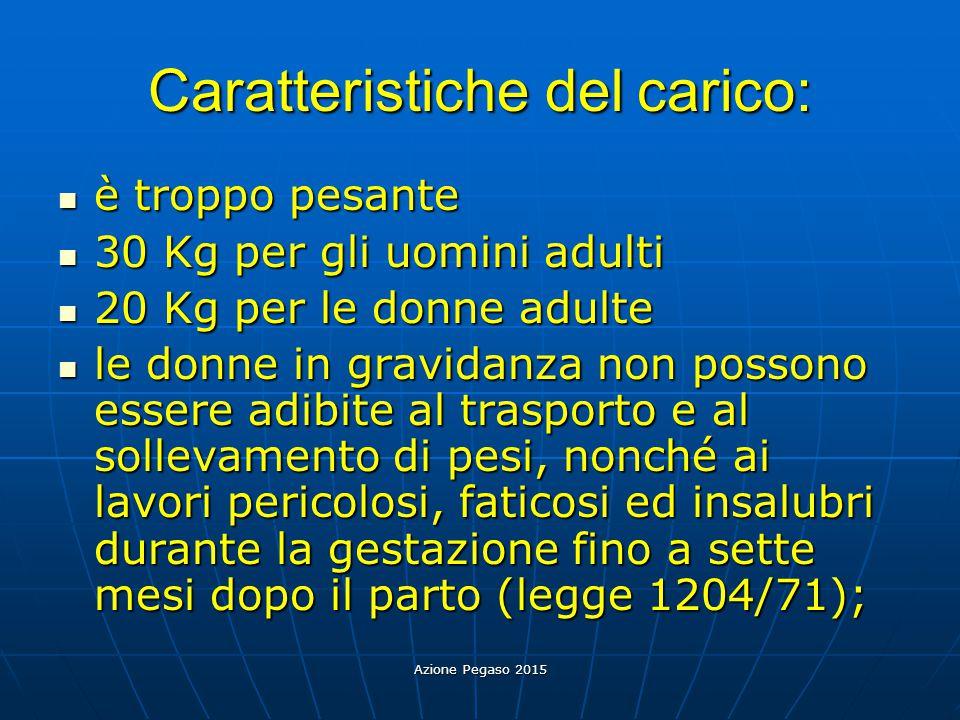Caratteristiche del carico:
