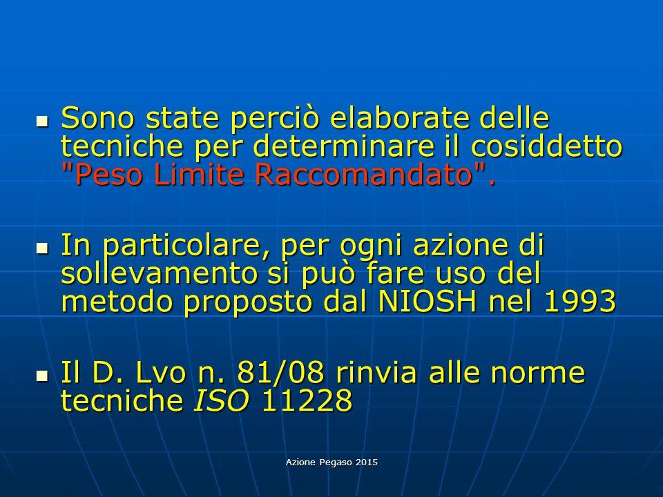 Il D. Lvo n. 81/08 rinvia alle norme tecniche ISO 11228