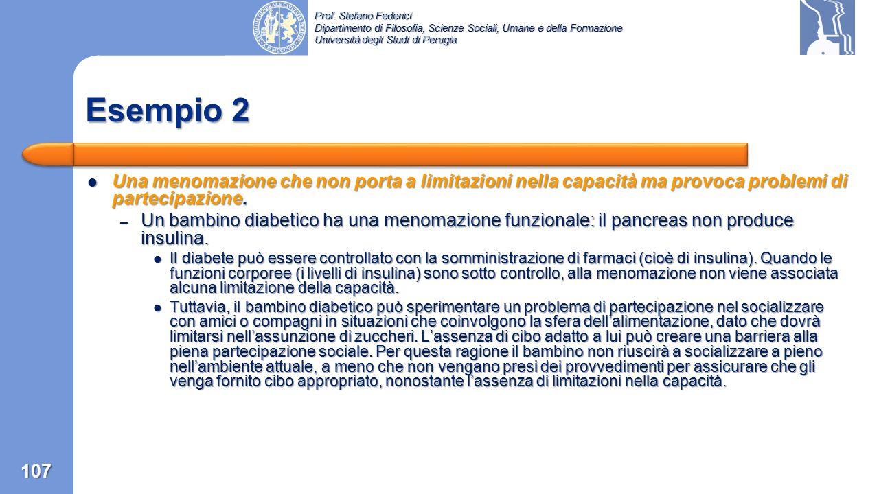 Esempio 2 Una menomazione che non porta a limitazioni nella capacità ma provoca problemi di partecipazione.