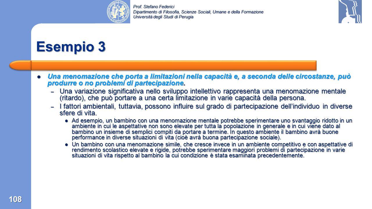 Esempio 3 Una menomazione che porta a limitazioni nella capacità e, a seconda delle circostanze, può produrre o no problemi di partecipazione.