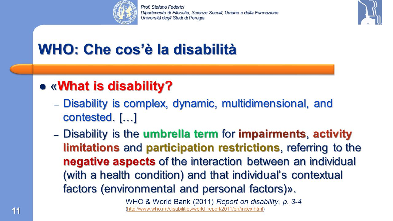 WHO: Che cos'è la disabilità