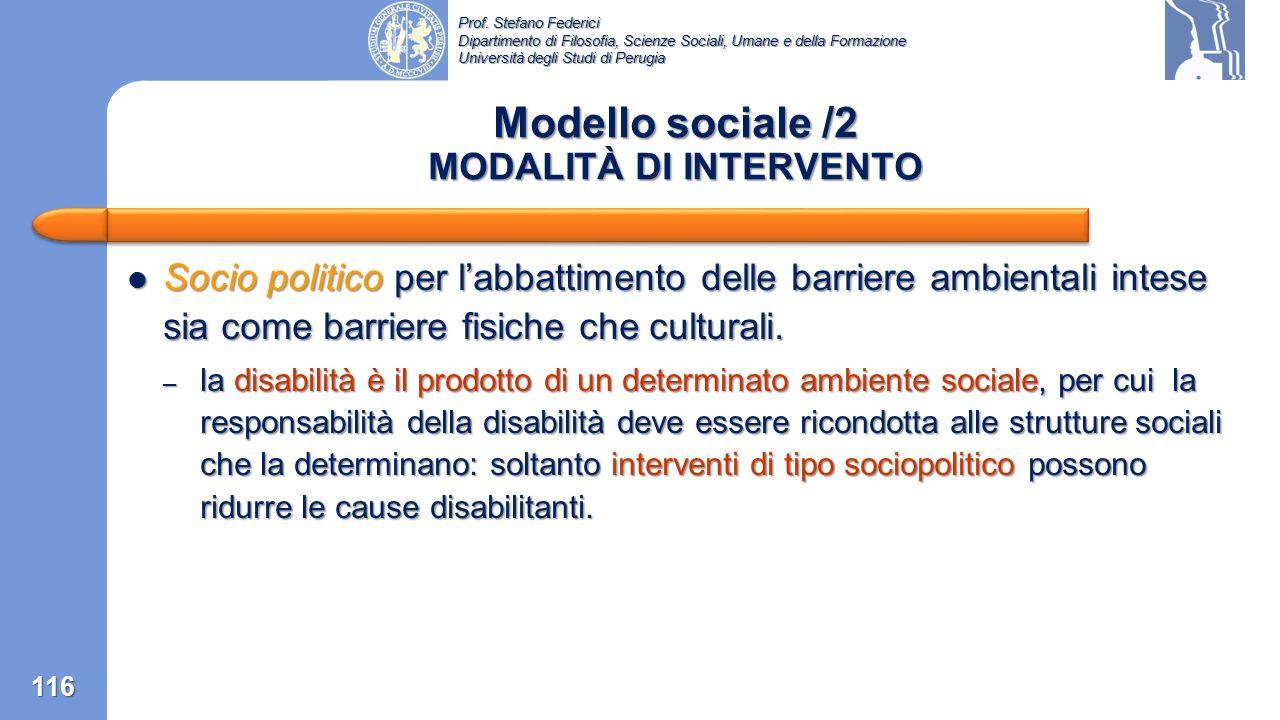 Modello sociale /2 MODALITÀ DI INTERVENTO