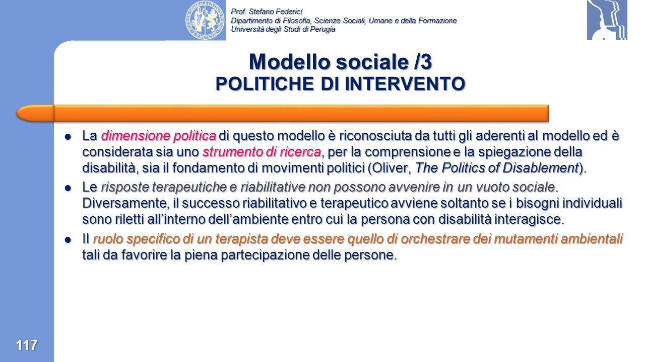 Modello sociale /3 POLITICHE DI INTERVENTO